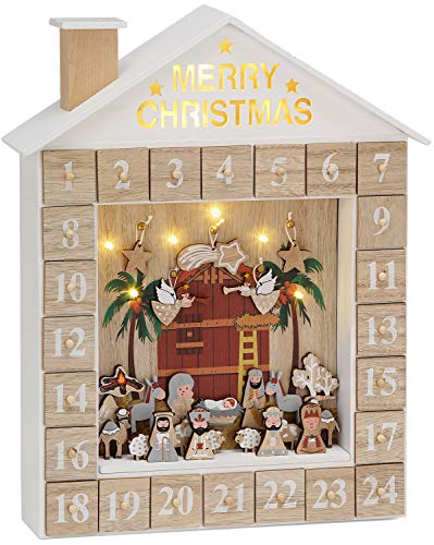 Brubaker Calendario de Adviento Pesebre de Madera con iluminación LED - Blanco/Oro - 31,5 x 38,2 x 6,3 cm