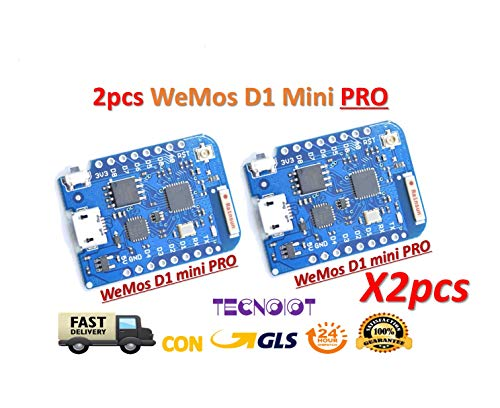 TECNOIOT 2pcs 16M Bytes External Antenna Connector ESP8266 WiFi Board Compatible with WEMOS D1 Mini Pro