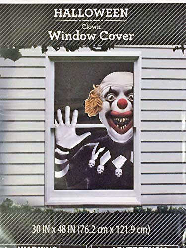 Walmart Halloween Decoration Scary Clown Window Cover [1 Poster per Pack] 30 in x 48 in