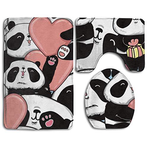 ZharkLI Panda Hug Heart Love - Set di 3 tappetini da Bagno Antiscivolo