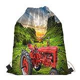 DMDFW Tractor Rojo del Prado del Valle,Impresión 3D,Mochila de Cuerdas,Saco de Deporte,Bolsas de Playa,Bolsas de Gimnasia,Bolsa para la Escuela
