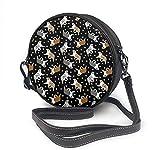 BAODANLA Bolso redondo mujer Round Crossbody Bag Australian Shepherds and Paw Handbag Purse Single Shoulder Bag Sling Bag