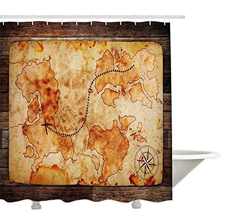 Yeuss Island carte Decor Collection, Grungy carte du monde avec une Boussole sur fond rustique en bois Atlas Motif Vintage, tissu de polyester de salle de bain Rideau de douche