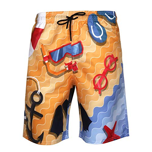 ASDWA Strandshorts,Herren Quick Dry Badehose Taucherbrille Bedrucken Shorts Mit Taschen Stretch Kordelzug Casual Running Surfing Beach Sportsshorts, XXXXL