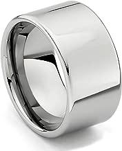 TWJC 12mm Flat Men's Tungsten Wedding Band
