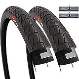 Fincci Set Par 26 x 2,125 Pulgadas 57-559 Cubiertas con Cámaras de Aire Schrader Válvula Interior para Carretera MTB Montaña Hibrida Bici Bicicleta (Paquete de 2)