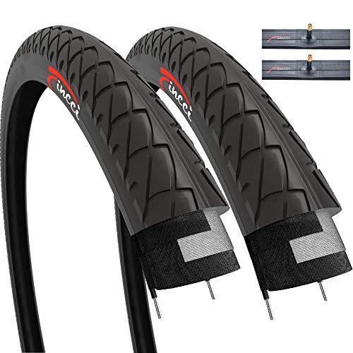 Fincci Paar Slick Road Mountain Hybrid Bike Fahrrad Reifen 26 x 2,10 54-559 und Autoventil Schläuche