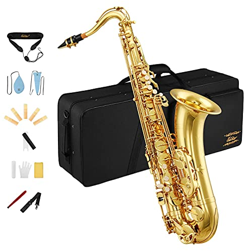 Eastar Tenor Saxophone Student Tenor Saxophone Bb Tenor Sax B Flat Gold Lacquer Beginner Saxophone With Cleaning Cloth,Carrying Case,Mouthpiece,Neck Strap,Cork Grease,Reeds, Full Kit, TS-Ⅱ