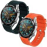 Th-some Correa para Huawei Watch GT 2/ Huawei Watch GT Fashion/Sport/Active/Elegant/Classic/Gear S3 Frontier/Galaxy Watch 46mm/S3 Classic, 22mm Pulsera de Repuesto de Silicona Banda (Verde Naranja)