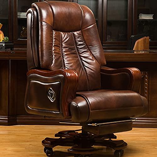 Sillas de Oficina, sillones giratorios de Masaje, sillones de Negocios con Pedales retráctiles, sillones ejecutivos ergonómicos/Café / 60cm