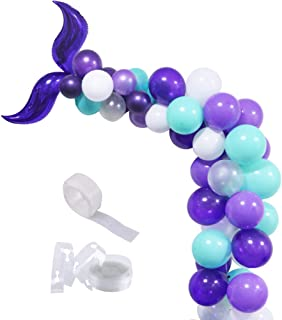 Mermaid Balloon Garland, Mermaid foil Tail Balloons Garland Set for Baby Shower Kids Birthday Party Decorations Mermaid Ocean Theme Party Supplies