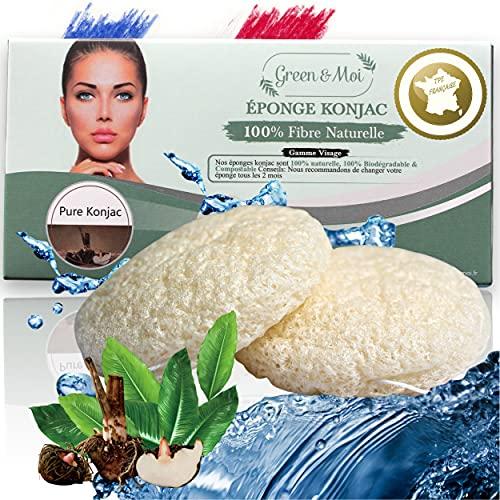 Eponge konjac visage peau sensible Pure Konjac Qualité Supérieure-Lot 2 pcs-Démaquillant bio visage yeux-Aide à combattre la peau grasse et l'acné-Nature-Exfoliante-Réutilisable-Écologique-Peau bébé
