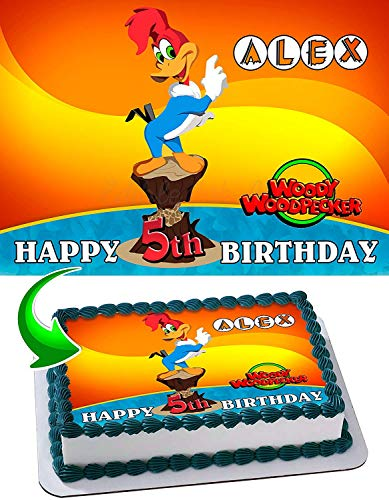 Cakecery Woody Woodpecker Edible Cake Image Topper Personalized Birthday Cake Banner 1/4 Sheet
