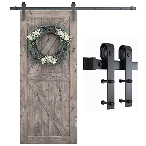 """SMARTSTANDARD 6.6 Foot One-Piece Track Sliding Barn Door Hardware Kit -Smoothly and Quietly -Easy to Install -Includes Step-By-Step Installation Instruction, Fit 36""""-40"""" Wide Door Panel (J Shape)"""