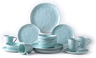 Pangu 16-Piece Dinnerware Set, MINIMALISM, Handmade Irregular Shape Look, Service for 4 (16 piece, Light green)