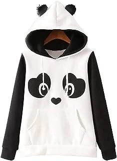 Womens Long Sleeve Fleece Pullover Hoodie Sweatshirts Warm Autumn Winter Panda Hoodies Tops Size L