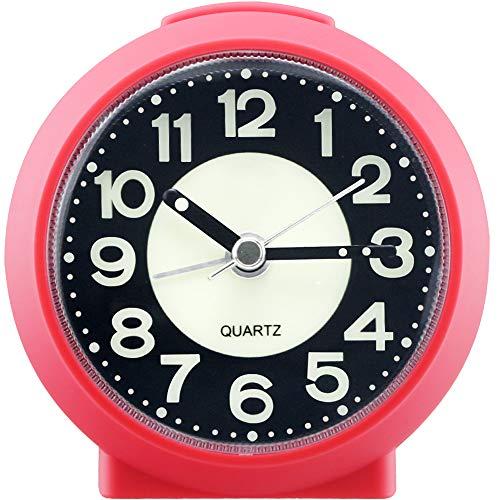Reloj despertador analógico, sencillo, sin garrapatas, funciona con pilas, con luz de repetición que brilla en la oscuridad, reloj de mesa para dormitorios, personas que duerme