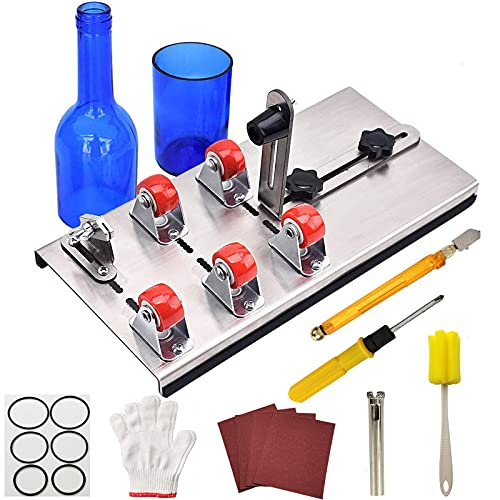 Glass Bottle Cutter - Bottles Cutter Kit Glass Cutting Tool Kit Upgraded Glass Cutter Machine for DIY Glass Bottle Crafts Production Cutting Set for Beer Wine Soda Round, Oval Bottle, Mason Jars etc