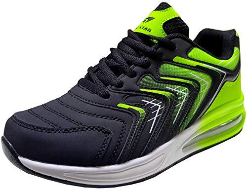 gibra® Herren Sneaker Sportschuhe Turnschuhe, schwarz/neongrün, Art. 5547, Gr. 42