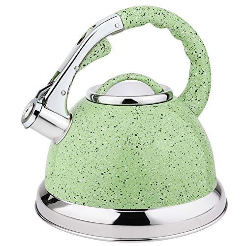 Bouilloire à sifflet, bouilloire en acier inoxydable de 3,5 La d'épaisseur, adaptée aux bouilloires de tous types d'ustensiles de cuisine,Vert