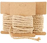 Natural Jute Twine Rope for Crafting (6.5 ft, 12-Pack)