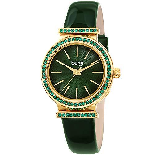 Burgi BUR243 Designer Women's Watch - Genuine Patent Leather Strap,...