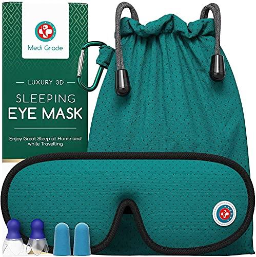 Medi Grade 3D-Schlafmaske mit totaler Verdunkelung [14pc] Schlafmaske Frauen/M_nner, atmungsaktive Augenbinde mittlerer Qualit_t mit verstellbarem Gurt, 4x Ohrst_psel, Reisetasche und Karabiner