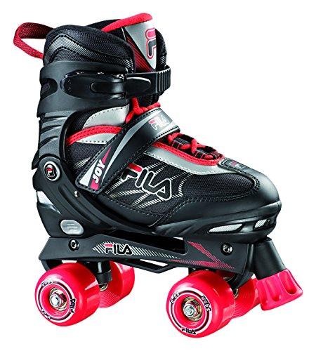 Fila Jungen Roller-Skates Joy verstellbar Rollschuhe, Schwarz/Rot, L (39-42)