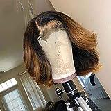 1b/27 Echthaar-Perücke, kurz, Bob-Spitze, vorgerupftes Haar, Honigblond, für schwarze Frauen, gebleichte Knoten