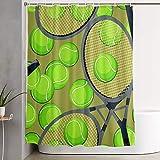VINISATH Imperméable Rideau de Douche,Motif de Fond Transparent avec des balles de Tennis et Une Raquette,Baignoire Rideaux Accessoires de Salle de Bain 180 x 180 cm