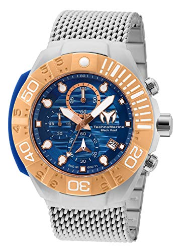 TechnoMarine, Black Reef, orologio da uomo, cassa in acciaio inox e silicone, bracciale in acciaio inox