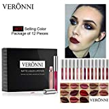 VERONNI 12 PCS Liquid Matte Lipstick Set -Waterproof Long Lasting Lip Makeup,Non-Stick Cup Velvety Nude Lipgloss Beauty Cosmetics Kit
