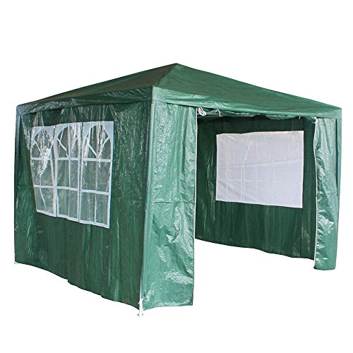 3Mx3M PE Garden Gazebo Awning Party Wedding Tent With Full sidewall (Green)