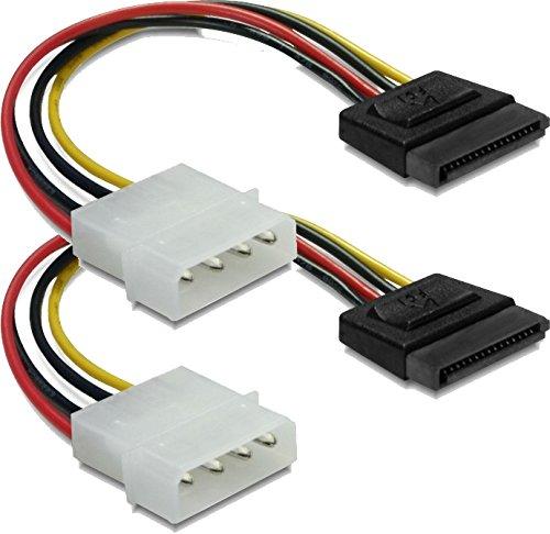 DeLock 2X Stromadapter 4pin auf S-ATA 15pin 12cm Kabel Netzkabel intern 1 x 4 pol Stecker auf 1 x 15 pol/SATA Stecker 0.12 m