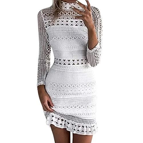 Frauen Casual Kurzes Kleid, Evansamp Sommer Halben Hülse Rundhalsausschnitt Mini Einfarbig Dress Damen Abend Party Dress(Weiß,S)