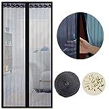 Cortina Mosquitera Magnética para Puertas, 90 x 210cm, Anti Insectos Moscas y Mosquitos, con Imanes Cierre Automático y Velcro Adhesiva , para Puertas Correderas/Balcones/Terraza(negro )