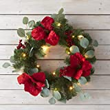 The Lakeside Collection Lighted LED Holiday Wreath with Faux Holly Berry and Leaf Accents