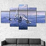 AWER Mural Foto McDonnell Douglas F-4 Phantom II 5 Stück Leinwand Bilder Wandbild modern Wandbilder Design Wand Bild fünf Teile Modulare Bilder Wanddekoration 5 Teilig