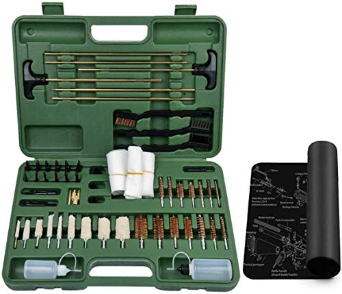 HYQO Large Universal Gun Cleaning Kit - Supplies for All Guns with Case and Mat Gun Cleaning Kit with Oil and Cleaner for Rifle Shotgun Handgun Pistol Hunting for All Caliber