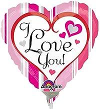 Anagram I Love you Pink Stripes Mini Foil Balloons on Sticks x 3
