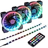 Ubanner Ventola per Case RGB indirizzabile a LED da 1400 Giri/min 120 mm con Controller per Case per Computer,LED Fans (3 ventole RGB, 2 Strisce LED, Telecomando RF di Terza Generazione, Serie A)