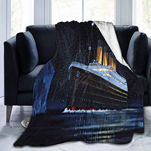 IUBBKI Aire Acondicionado de Manta Ultra-Soft Custom Throw Blanket,T-it-a-ni-c Love Print,Cozy Plush Blanket for Sofa Bedroom Travel Micro Fleece Blanket50 X40