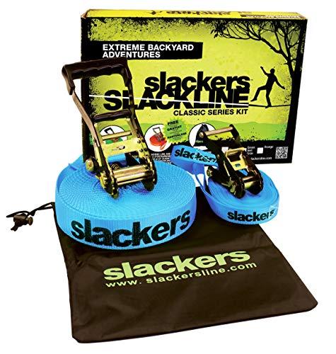 Slackers USA Slackline Classic 15m, Set mit zusätzlicher Teaching Line, Handlauf zum leichten Erlernen, Ratschenschutz, Anleitung, Tasche, ideal für Kinder und Familie, 980010