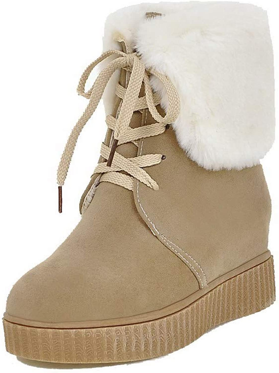 WeiPoot Women's Kitten-Heels Assorted color Closed-Toe Frosted Lace-Up Boots, EGHXH123544