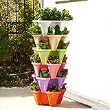 Wyi Macetero de jardín apilable de plástico de 6 niveles, para platillo, jardinería, vertical, colorido, para plantas, verduras, flores