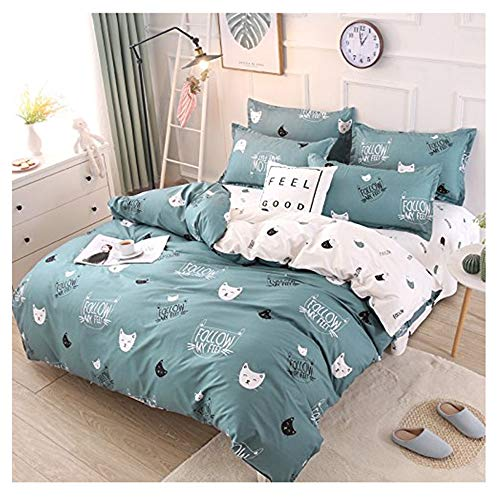 Rayhoo Bed Set Twin Sheets Set Cute Cat – 3 Piece Bedding Sets One Comforter Cover Two Pillowcase– Ultra Soft Microfiber Teen Bedding for Girls Bedroom(Without Quilt) (Cute cat,Green, Twin,66''x86'')