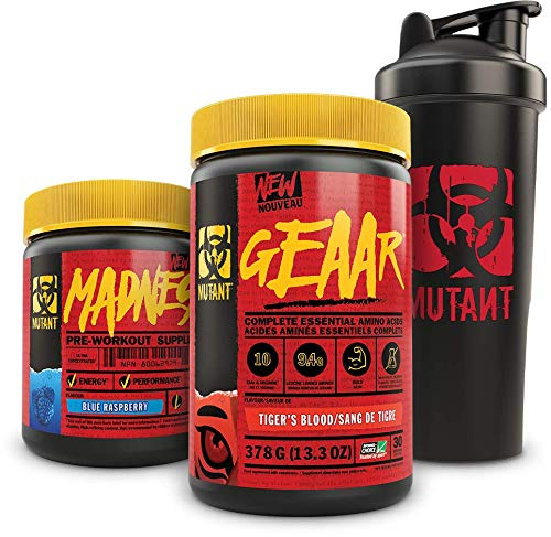 Mutant Madness + Mutant Geaar + Shaker Cup Bundle – Pre-Workout Supplements Formulated for Hardcore Training with 1 L Shaker Cup – 225 g and 378 g – Blue Raspberry & Tiger Blood