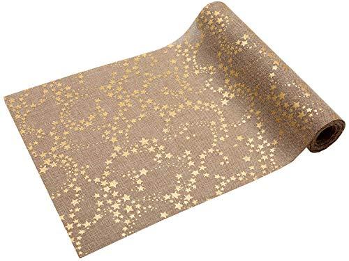 Runner natalizio con stelle dorate, 5 m x 28 cm, design in iuta marrone chiaro, decorazione natalizia da tavola