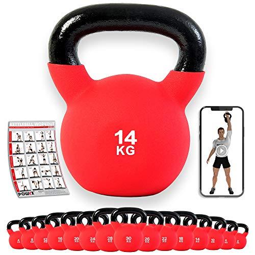 POWRX - Kettlebell Hierro Fundido 4-30 kg - Pesa Rusa con Revestimiento de Neopreno + PDF Workout (14 kg)