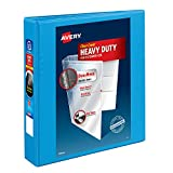 Avery Heavy-Duty View 3 Ring Binder,1.5'  One Touch Slant Rings, Holds 8.5' x 11' Paper, 1 Light Blue Binder (05401)